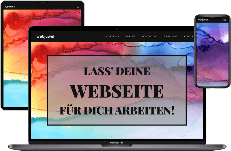 Laptop, Tablet und Handy mit bunten Screens und Slogan