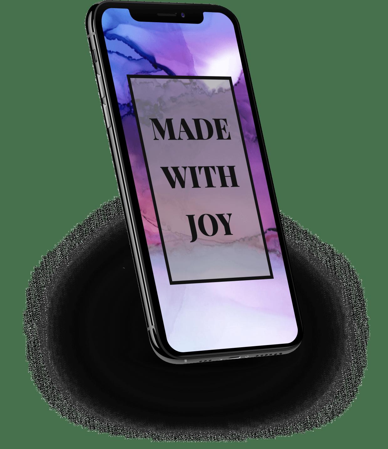 Mobiltelefon mit dem Spruch